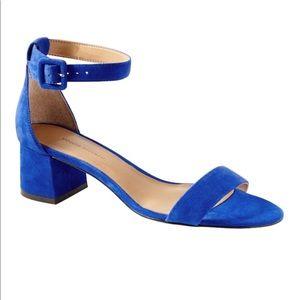 Suede Cobalt Blue Bare Low-Block Heel Sandal 💙